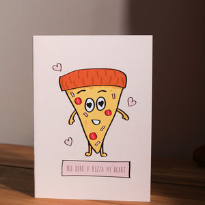 Load image into Gallery viewer, 'You Have A Pizza My Heart' Valentine's Day Card