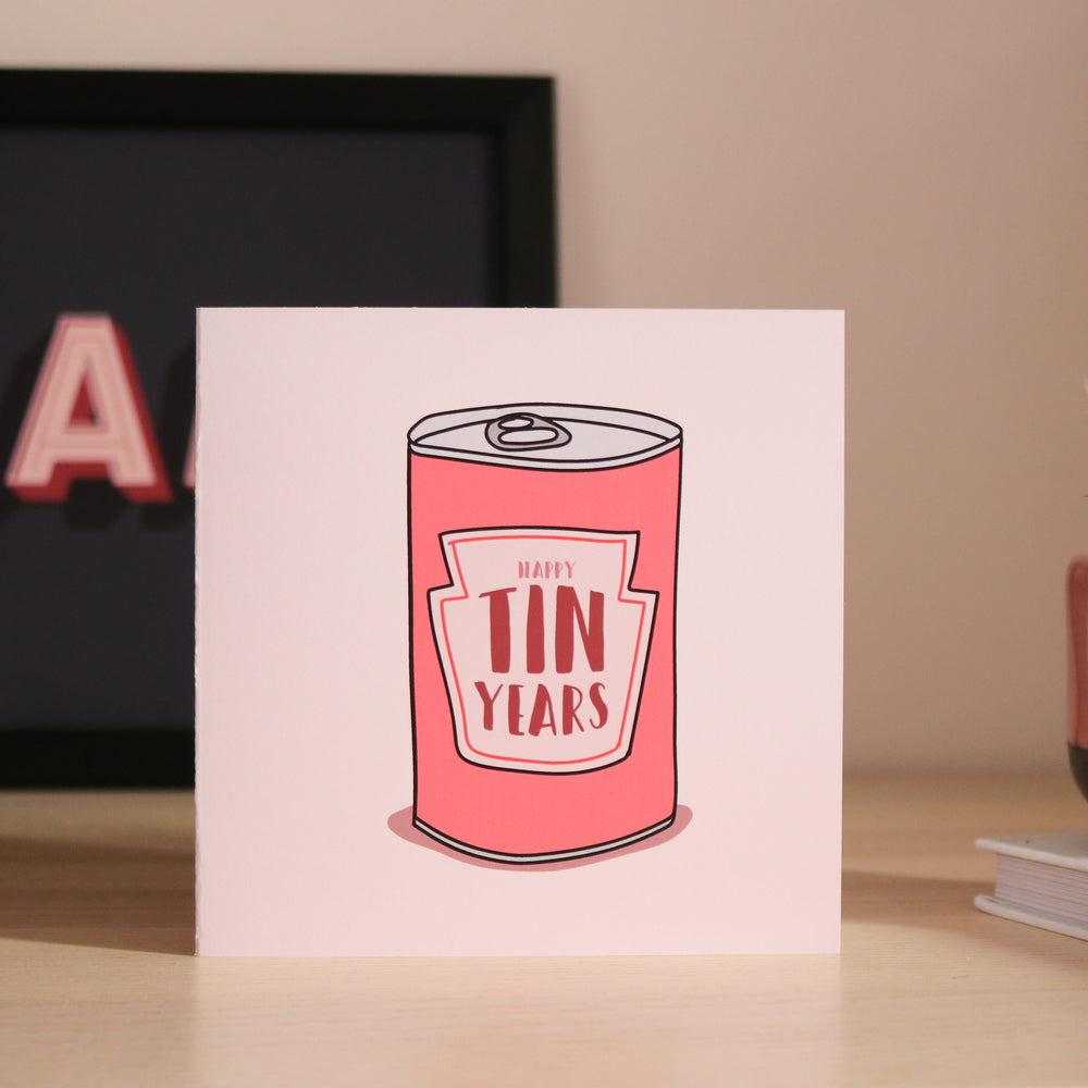 'Happy Tin Years' Anniversary Card