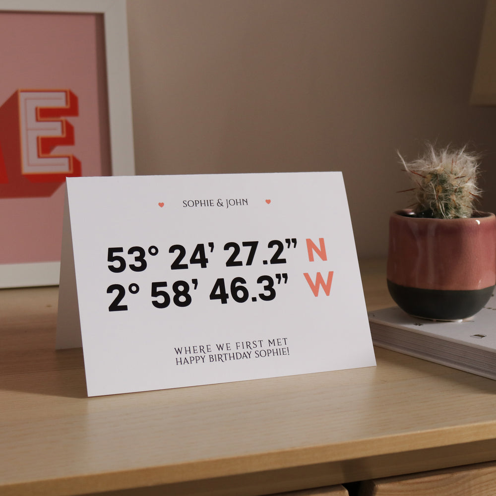 Personalised Longitude & Latitude Card