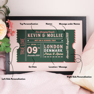 Personalised Movie Ticket Anniversary Print