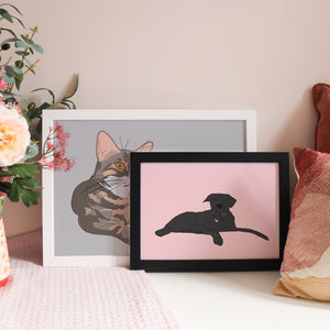 Load image into Gallery viewer, Personalised Illustrated Pet Portrait Paper Print