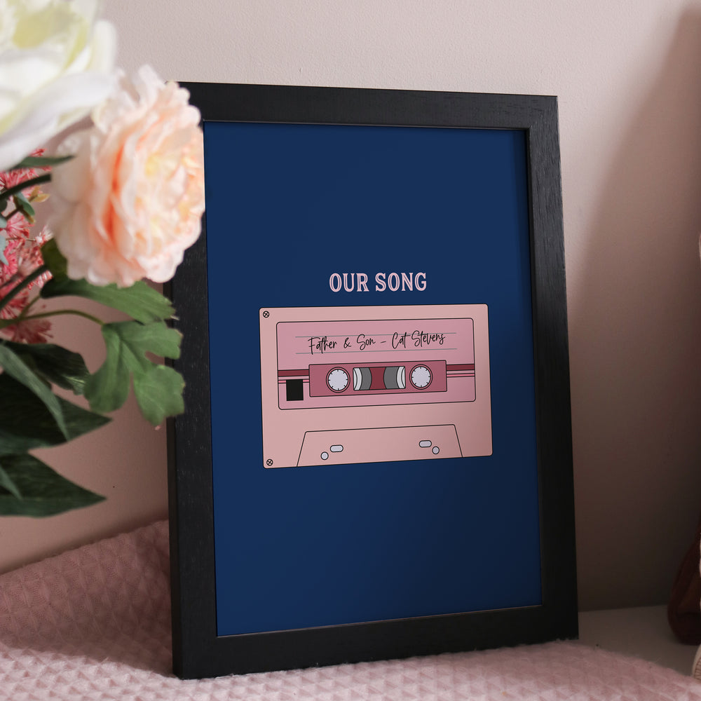 Personalised Music Tape Print for Anniversaries