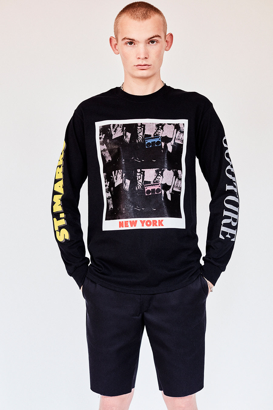 Brand New from New York City: Stmarksnewyork.com. Shop The St. Marks boombox black long sleeve T-shirt: featuring our image from St Marks Place, and the St. Marks Couture New York logo on the back.  Hand silkscreen printed in New York with love.