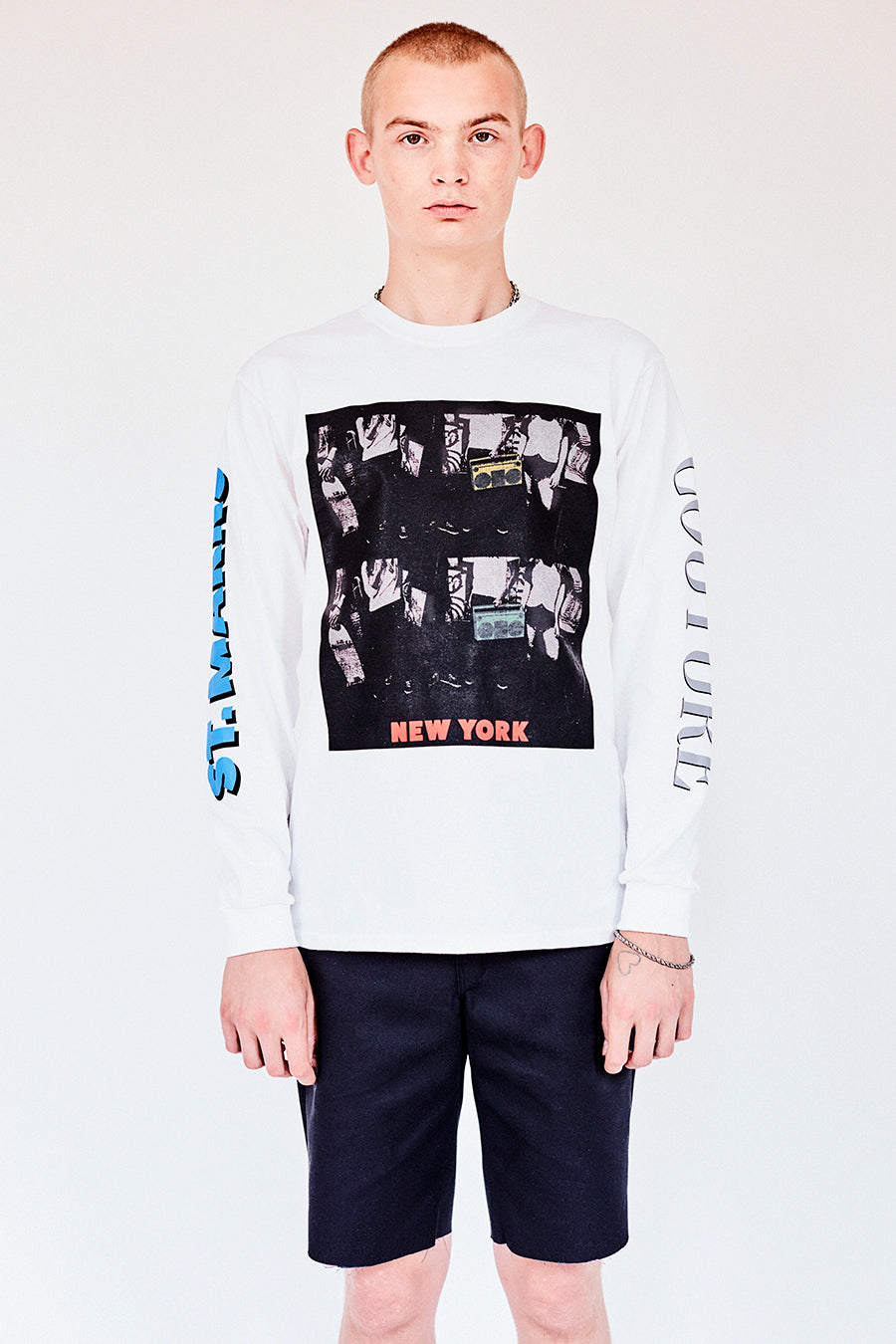Brand New from New York City: Stmarksnewyork.com. Shop The St. Marks boombox white long sleeve T-shirt: featuring our image from St Marks Place, and the St. Marks Couture New York logo on the back.  Hand silkscreen printed in New York with love.