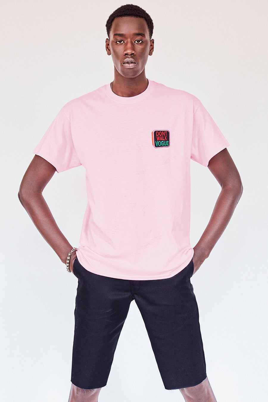 Brand New. Pride Month 2020- New York Label: Your new work from home outfit Shop the Dont Walk Vogue pale pink T-Shirt featuring chest embroidery inspired by old school Walk/Dont Walk crosswalk signs on the front and St. Marks Couture New York logo on the back. Hand silkscreen printed in New York with love.