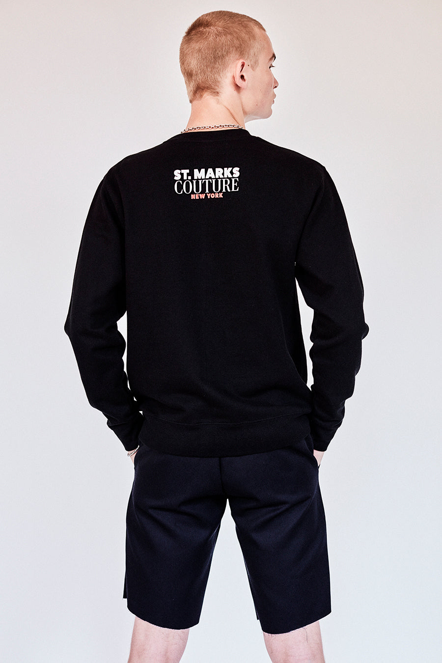 Brand New from New York City: Stmarksnewyork.com  Shop the St. Marks Street Sign Black Sweatshirt: Featuring St. Marks Street sign image on the front and St. Marks Couture New York logo on the back.  Hand silkscreen printed in New York with love.