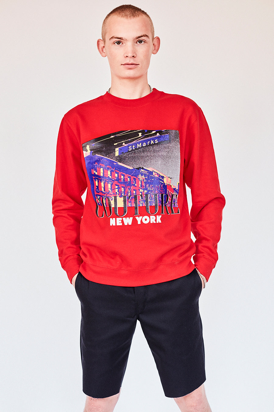 Brand New from New York City: Stmarksnewyork.com  Shop the St. Marks Street Sign red sweatshirt: Featuring St. Marks Street sign image on the front and St. Marks Couture New York logo on the back.  Hand silkscreen printed in New York with love.