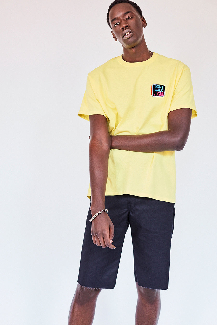 Brand New. Pride Month 2020- New York Label: Your new work from home outfit Shop the Dont Walk Vogue pale yellow T-Shirt featuring chest embroidery inspired by old school Walk/Dont Walk crosswalk signs on the front and St. Marks Couture New York logo on the back. Hand silkscreen printed in New York with love.