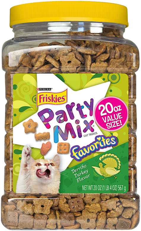 Friskies Party Mix Favorites Terrific Turkey Flavor Cat Treats