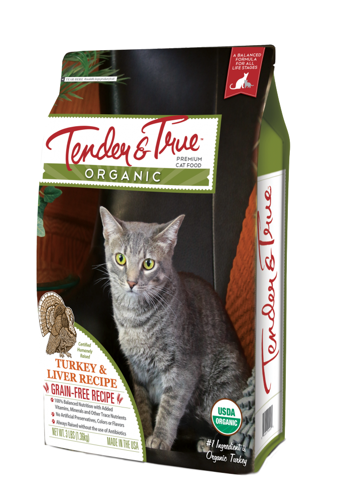 Tender & True Grain Free Organic Turkey and Liver Recipe Dry Cat Food