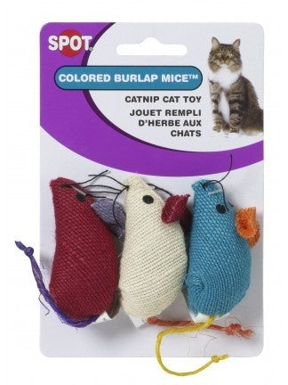 Ethical Pet SPOT Colored Burlap Mice Catnip Toy