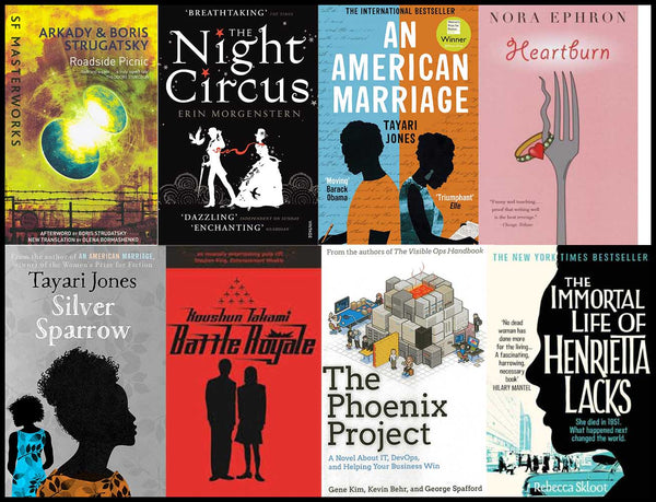 8 book covers lined up together - Roadside Picnic, The Night Circus, An American Marriage, Heartburn, Silver Sparrow, Battle Royale, The Phoenix Project, The Immortal Life of Henrietta Lacks
