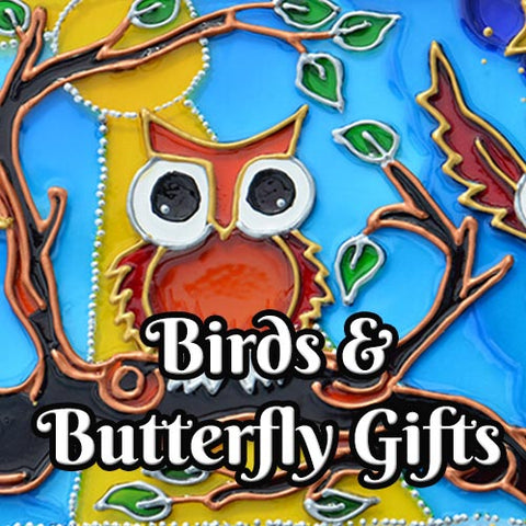 Gifts for Birds and Butterfly Lovers text on a background of a stained glass owl