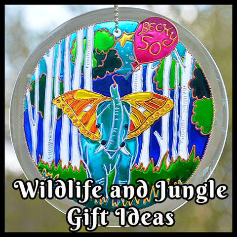 Stained Glass suncatcher with happy blue elephant plus the words Wildlife and Jungle Gift Ideas