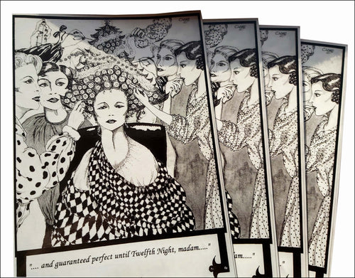 Set of 4 monochrome Christmas cards in Art Deco style - 4 hairdressers decorate a customer's elaborate Xmas tree hair-do