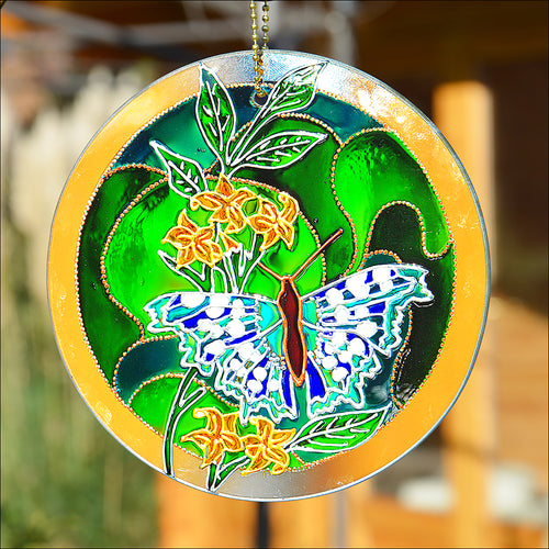 Blue Butterfly on Green Stained Glass Sun Catcher