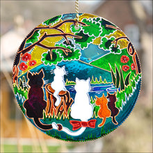 Woodland Cat Family Sun Catcher