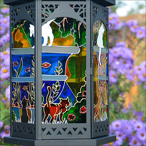 Cats at the Fishpond Large Moroccan Lantern