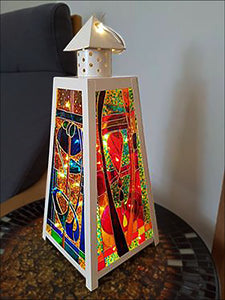 Completely Custom MEDIUM Pyramid Lantern in CREAM