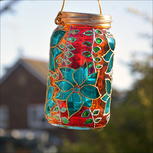 Red & Orange Clematis Suncatcher