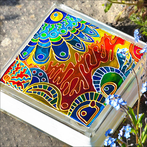 Blue Gold Folk Art