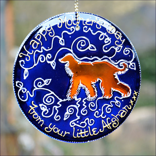 Happy Mothers Day suncatcher in rich blue and silver hand painted glass with picture of a golden Afghan hound. Dog owner gift