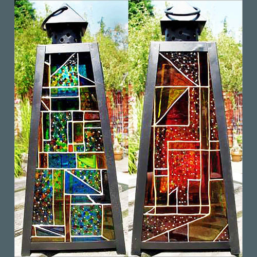 Completely Custom MEDIUM Pyramid Lantern in BLACK