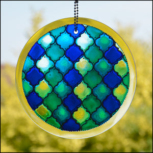 Moroccan Tiles Shades of Blue Suncatcher