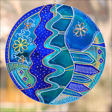 Stained Glass Folk Art Sun Catcher in Shades of Blue and Turquoise