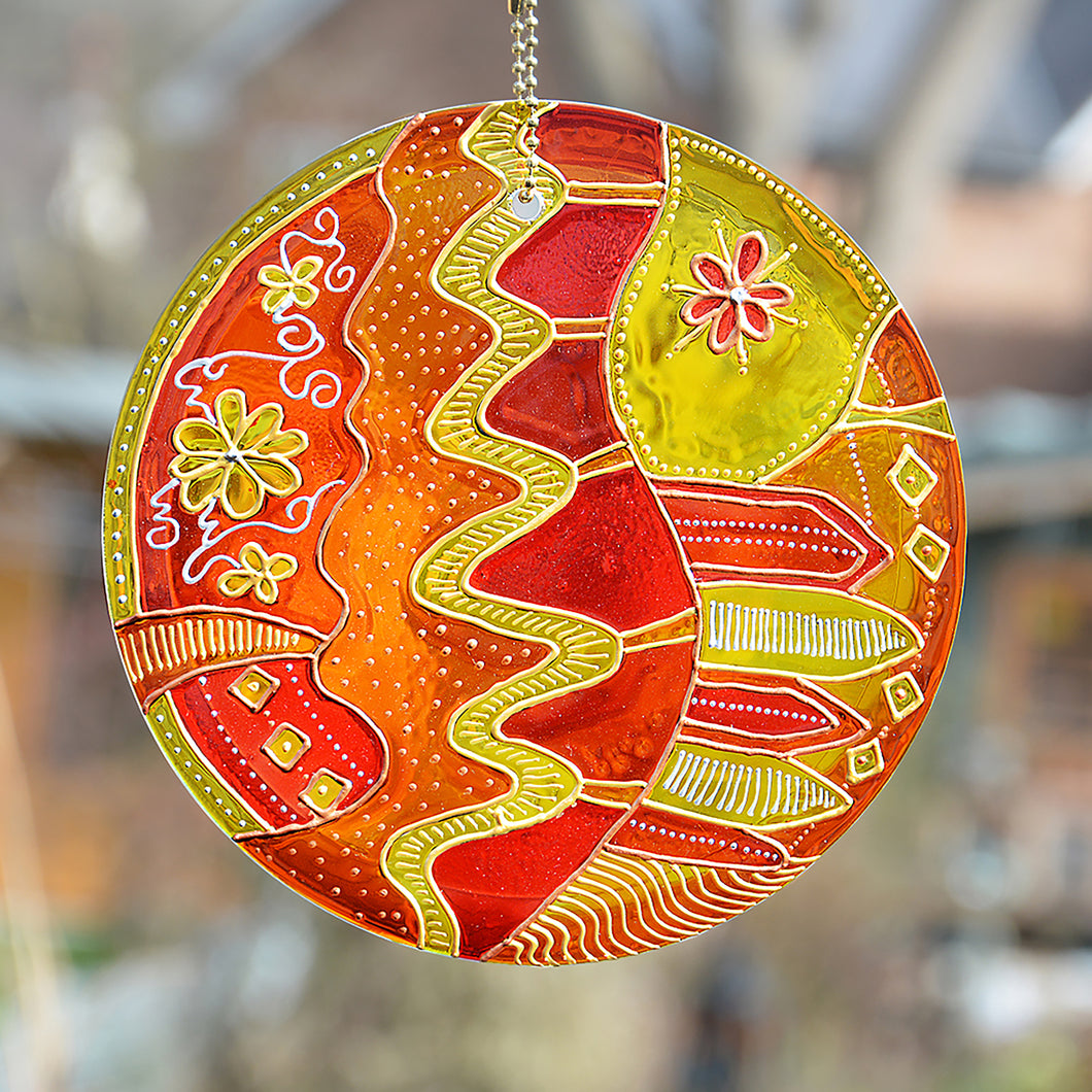 Sunshine Yellow Folk Art Suncatcher