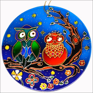 "Stained Glass Owl Couple 8"" Suncatcher"