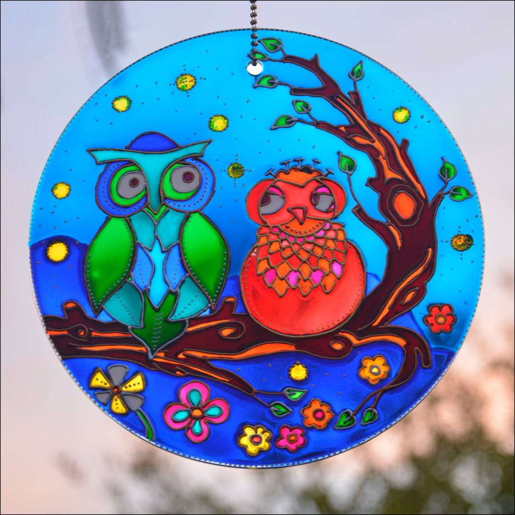 Stained Glass Owl Couple 8