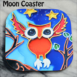 Fun mug mat or drinks coaster for owl lovers – a baby owl with wings raised glides to a tree against a starry blue night sky