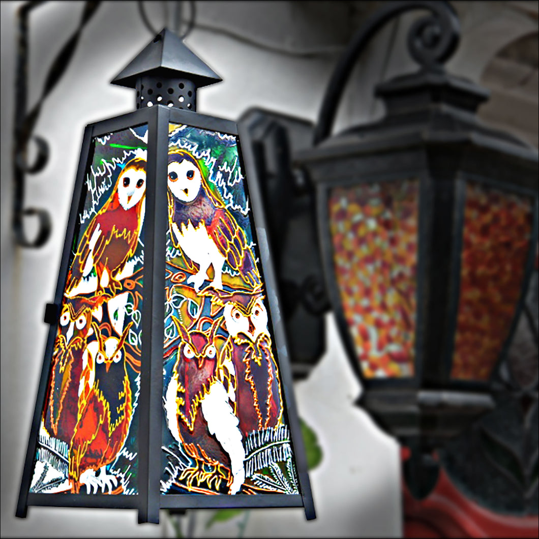 Owls in a Forest Lantern