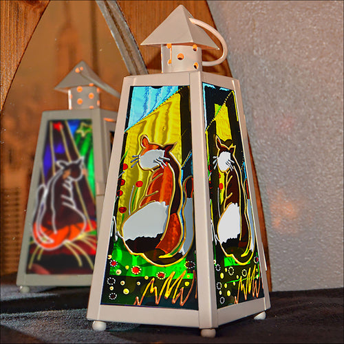 Calico Cat Tealight Lantern