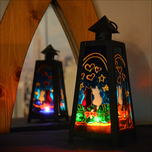Cat Couple Tealight Lantern