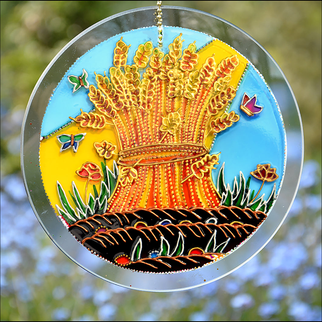 Autumn Harvest Wheat Sheaf Suncatcher
