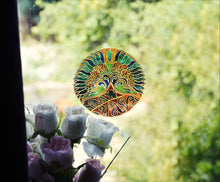 Art Deco Peacock Stained Glass Window Cling - 5 Inch