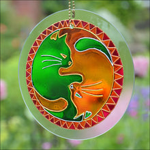 Yin Yang Cats Green & Gold