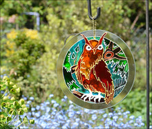 Colourful Stained Glass Owl Hanging Suncatcher