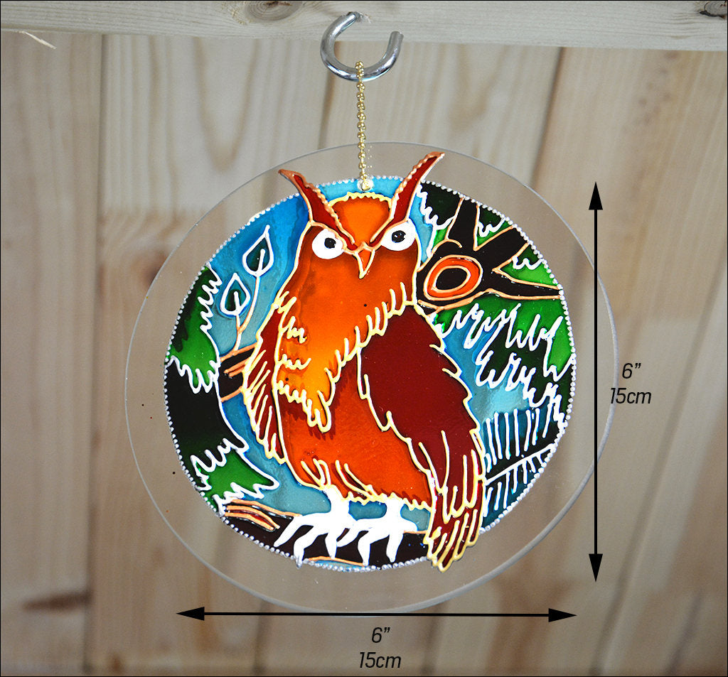 Stained Glass Owl Sun Catcher Ornament Window Hanging