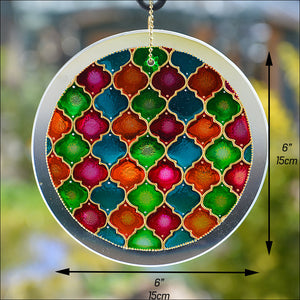 Moroccan Suncatcher - Green Pink Blue
