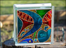 Abstract Art Glass Block