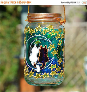 Cat Couple Moon & Stars Jar