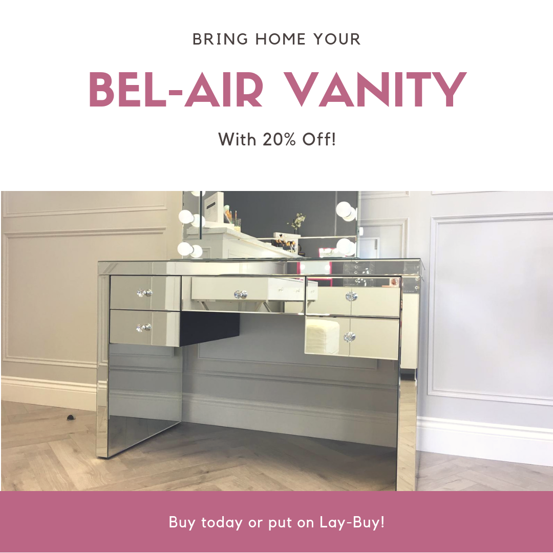 Bel-Air Mirrored Vanity Table by Glam Doll
