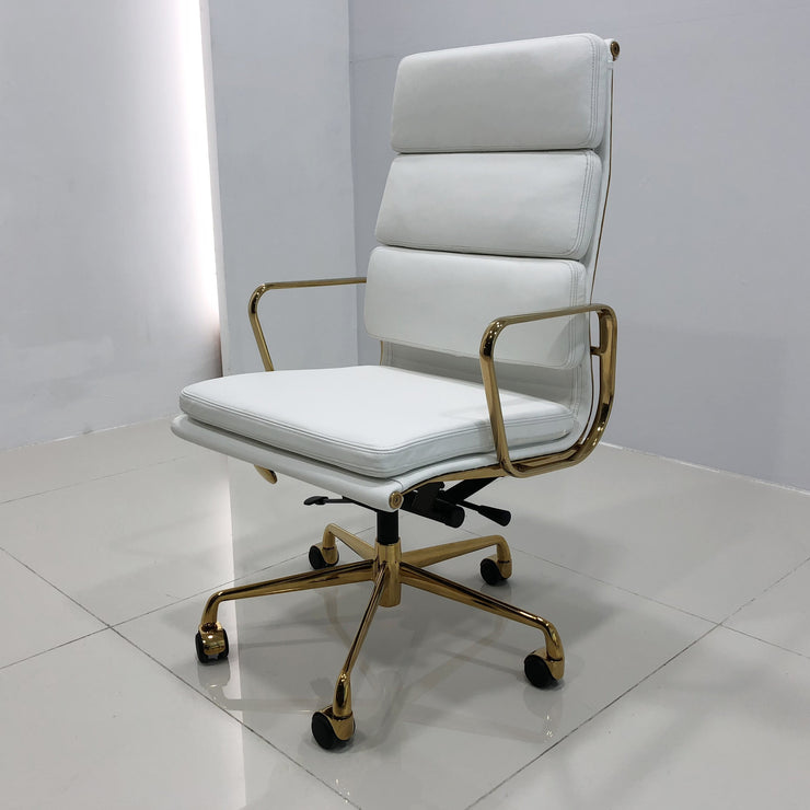 Italian Leather Swivel Chair featuring Gold Hardware - Glam Doll