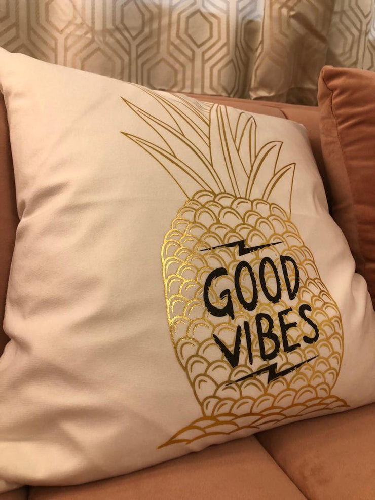 Metallic Gold Good Vibes Throw Pillow - Glam Doll