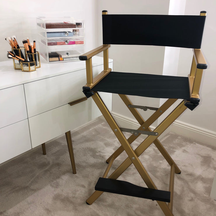Glam Studio Makeup Director Chair - Gold Frame - Glam Doll