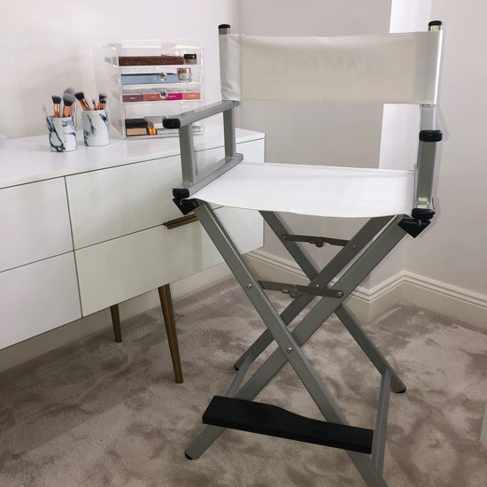 Glam Studio Makeup Director Chair - Silver Frame - Glam Doll