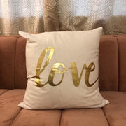 Metallic Gold Love Throw Pillow - Glam Doll